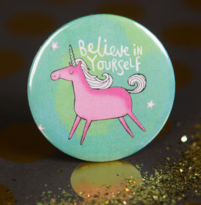 'Believe In Yourself' Unicorn Badge - pins & brooches