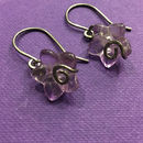 Solid Amethyst Flower Earrings