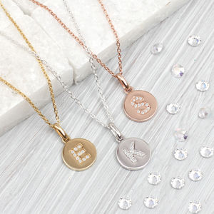 Genuine Diamond Initial And Precious Metal Necklace - jewellery for women