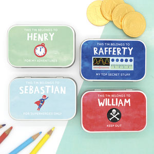 Personalised Bright Themed Keepsake Gift Tins - novelty chocolates