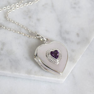 Sterling Silver Amethyst Heart Locket