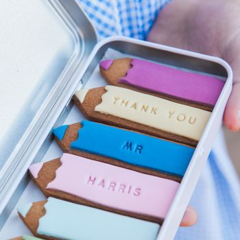 Personalised Pencil Biscuits