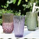 Set Of Four Embossed Coloured Highball Tumblers