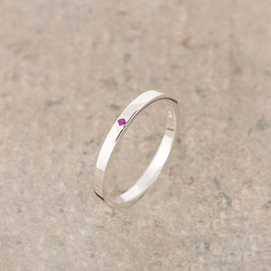 Tourmaline Silver Stacking Ring October Birthstone - birthstone jewellery gifts