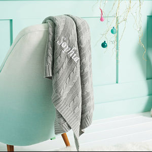 Personalised Cable Knit Grey Blanket - blankets & throws