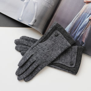 Merino Wool Gloves With Herringbone Cuff - gloves