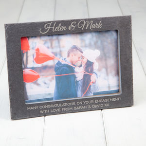 Personalised Slate Engagement Photo Frame - picture frames