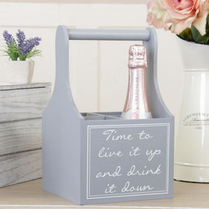 Personalised Live It Up Grey Four Bottle Carrier - kitchen