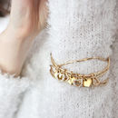 gold diamante heart bangle set on model