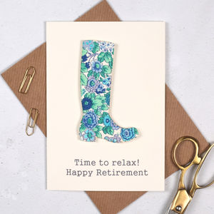 Personalised Liberty Welly Retirement Card