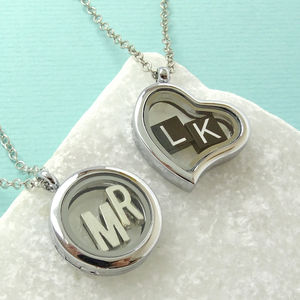 Personalised Initials Glass Locket Necklace - more