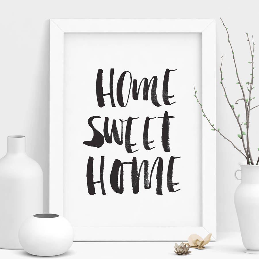 39 home sweet home 39 black and white watercolour print by the motivated type. Black Bedroom Furniture Sets. Home Design Ideas
