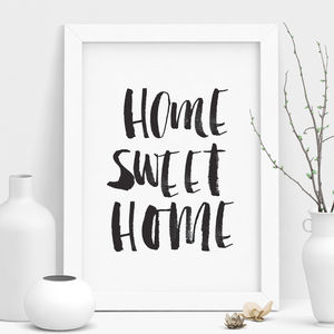 'Home Sweet Home' Black And White Watercolour Print