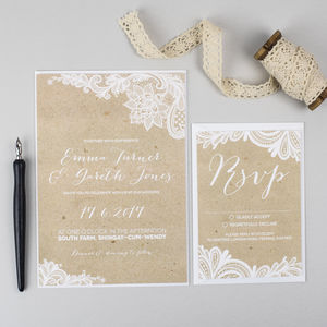 Lace Kraft Wedding Invitation - invitations