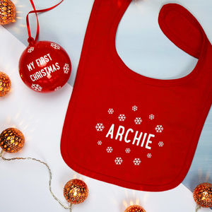 Personalised Baby's First Christmas Bib Bauble