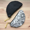 Half Moon Printed Fabric Coin Purse
