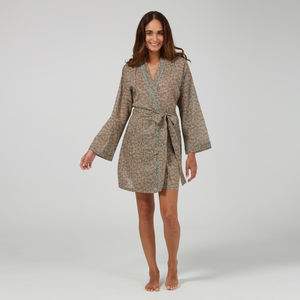 Short Cotton Robe In Taupe Ditzy Print