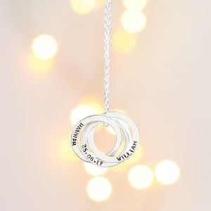 Personalised Sterling Silver Russian Rings Necklace - necklaces & pendants