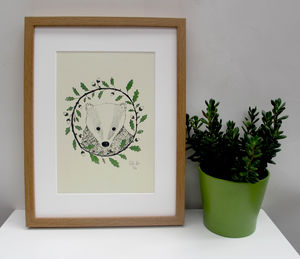 'Badger And Oak' A Two Colour Screen Print - posters & prints