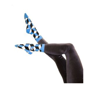 Optical Illusion Blue Cotton Sock