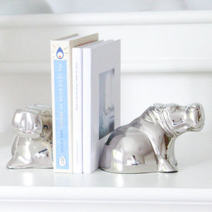 Nickel Hippo Bookends - bookends