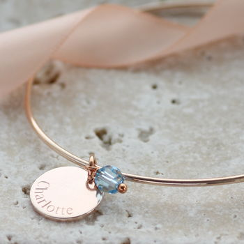Personalised Disc Birthstone Bangle