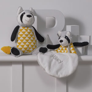 Personalised Racoon Baby Comforter And Toy Gift Set