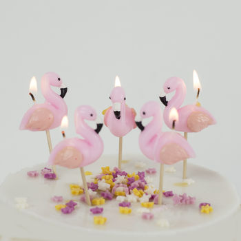 Flamingo Cake Candles Birthday Tropical Bird