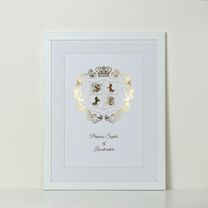 Personalised Foiled Royal Crest Print - mixed media pictures for children