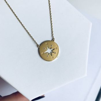 14k Gold Vermeil Diamond Set Compass Pendant