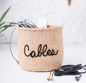 Embroidered Storage Basket For Cables - bedroom