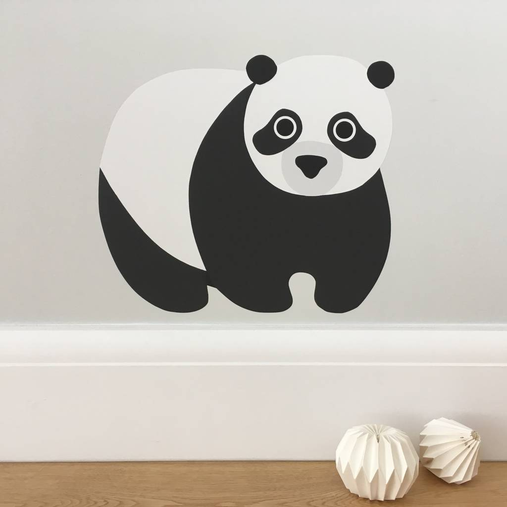 panda wall sticker by chameleon wall art panda bear cherry blossom tree wall decal in an instant art
