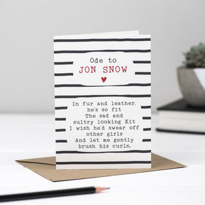 Jon Snow Poem Card
