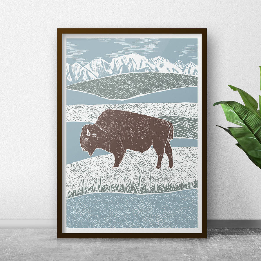 Bison And Wilderness Art Print