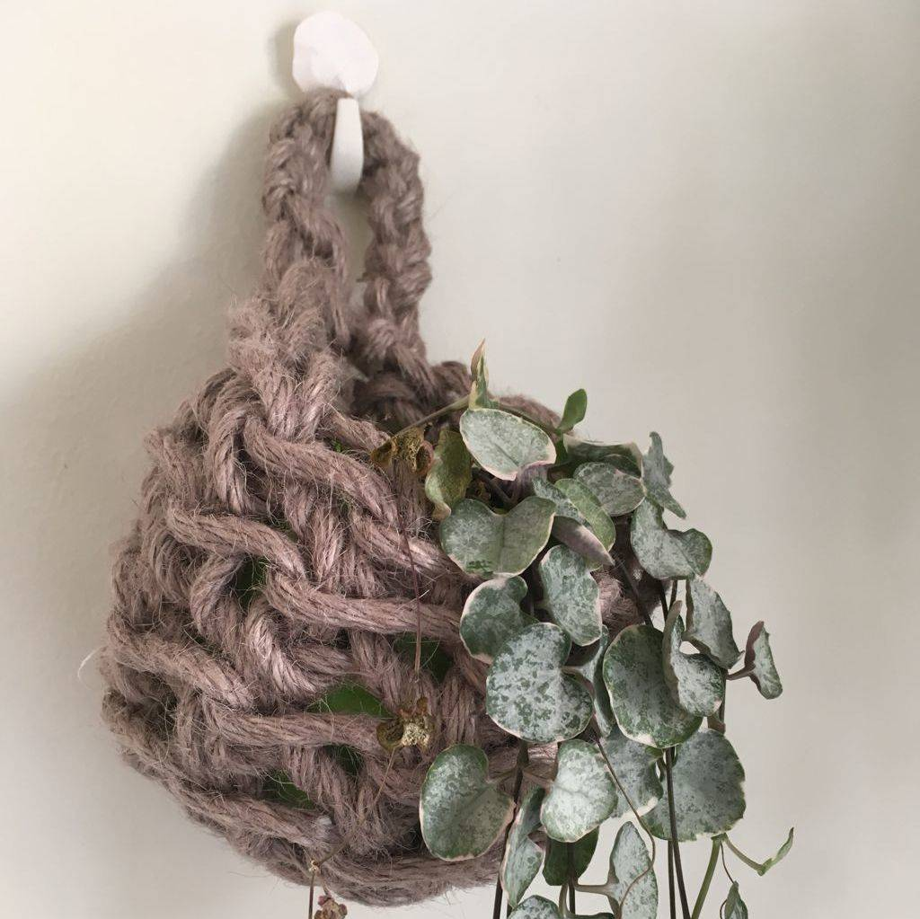 recycled cotton crochet plant hanger by the hummingbird card company ...