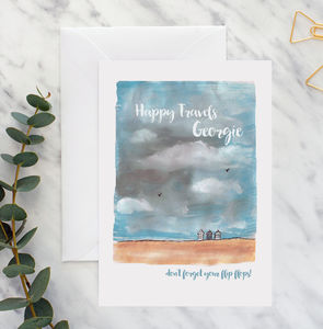 Personalised Happy Travels Beach A5 Card