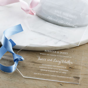 Personalised Acrylic Wedding Luggage Tag Invitation - invitations