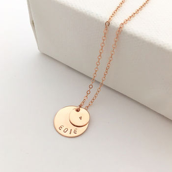 Rose Gold Double Disc Personalised Necklace