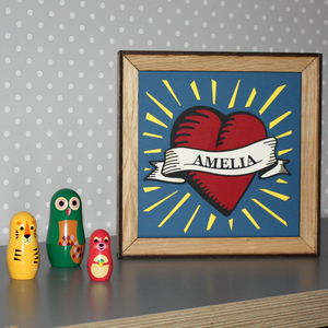 Personalised Papercut Heart Picture In Oak Frame