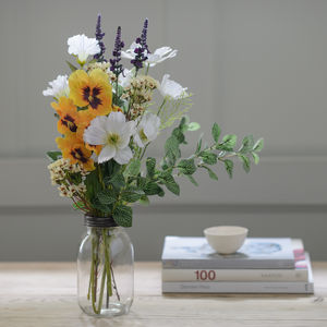 Dandy Pansy Faux Flower Jar