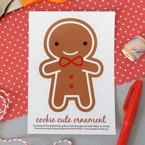 Gingerbread Man Christmas Ornament Postcard