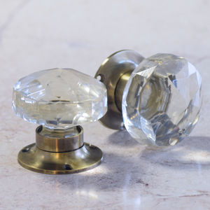 Antique Faceted Clear Glass Internal Mortice Door Knob