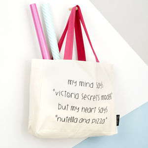 'Victoria Secrets Model Or Nutella?' Tote Bag - winter sale