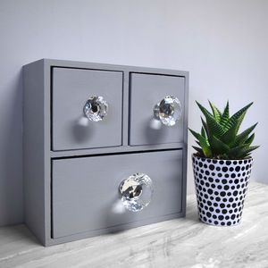 Clear Faceted Crystal Glass Cupboard Knob