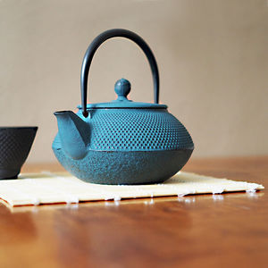 Blue Tenshi Cast Iron Teapot Japanese Style - kitchen