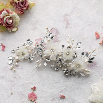 Dina Flower And Crystal Hair Comb