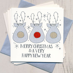 Pack Of Five Handmade Sparkly Christmas Cards - cards