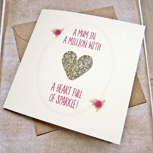 'Mum In A Million' Glitter Heart Mother's Day Card