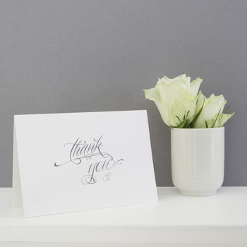 Pack Of Six Silver Calligraphy Thank You Cards