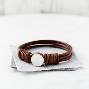 Personalised Hidden Message Silver And Leather Bracelet - bracelets